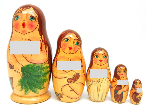 """""""Bathhouse Maidens"""" Russian Nesting Doll (Censored view)"""