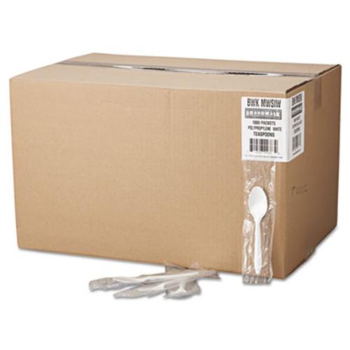Boardwalk Mediumweight Wrapped Polypropylene Cutlery, Teaspoon, White, 1000/Carton (BWK SPOONIW)