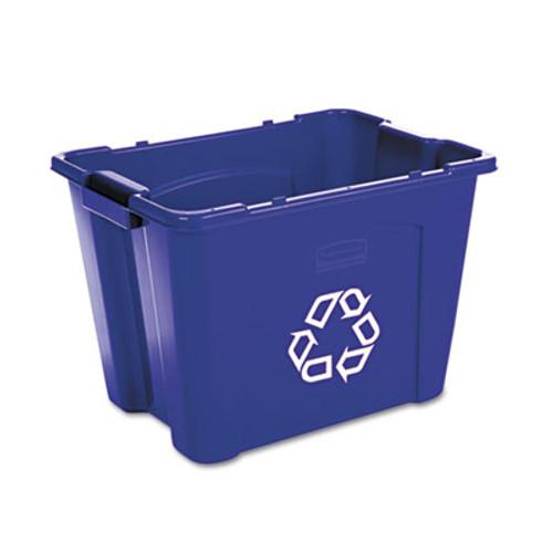 Rubbermaid Commercial Stacking Recycle Bin, Rectangular, Polyethylene, 14gal, Blue (RCP 5714-73 BLU)