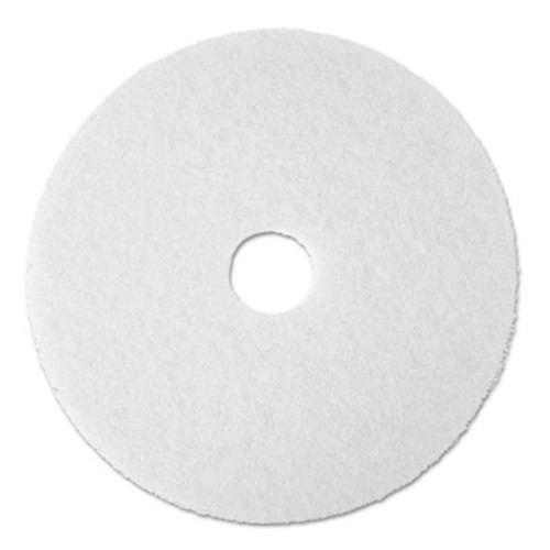 "Boardwalk Standard Floor Pads, 19"" dia, White, 5/Carton (PAD 4019 WHI)"
