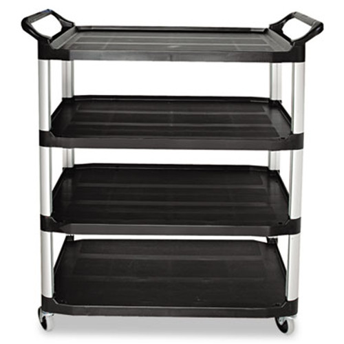Rubbermaid Commercial Open Sided Utility Cart, Four-Shelf, 40-5/8w x 20d x 51h, Black (RCP 4096 BLA)