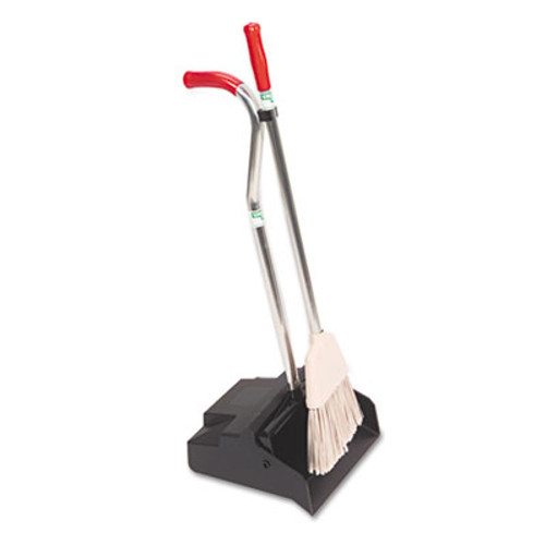 Unger Ergo Dustpan With Broom, 12 Wide, Metal w/Vinyl Coated Handle, Red/Silver (UNG EDPBR)