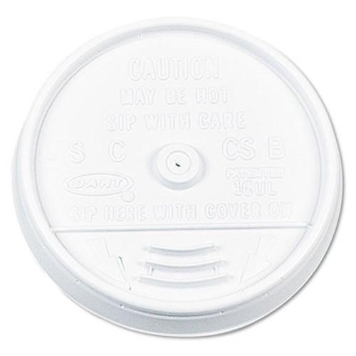 Dart Plastic Lids, for 16oz Hot/Cold Foam Cups, Sip-Thru Lid, White, 1000/Carton (DCC 16UL)