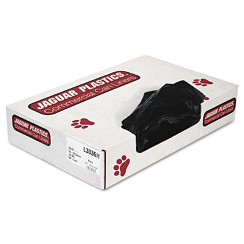 Jaguar Plastics Low-Density Can Liners, 20-30 Gallon, .65mil, Black, 200/Carton (JAG L3036H)