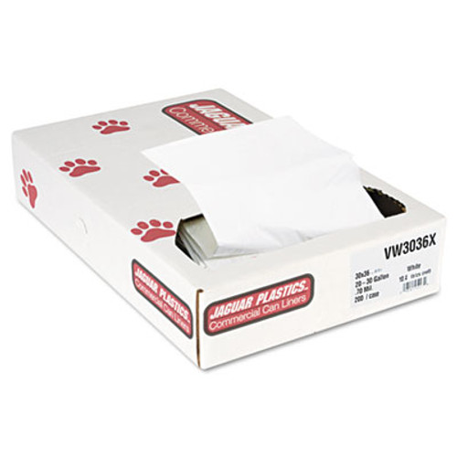 Jaguar Plastics Industrial Strength Commercial Can Liners, 20-30gal, .7mil, White, 200/Carton (JAG VW3036X)