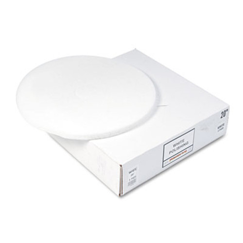 "Boardwalk Standard Floor Pads, 20"" Diameter, White, 5/Carton (PAD 4020 WHI)"
