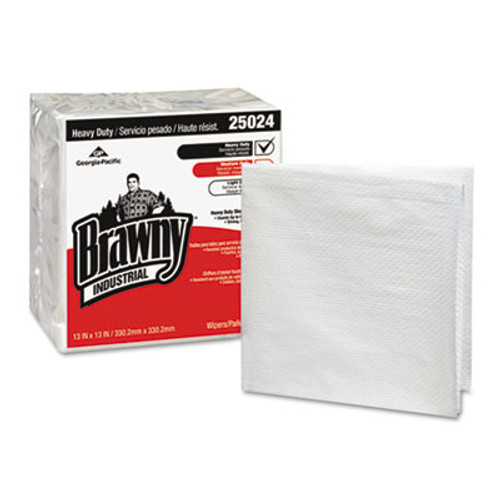 Georgia Pacific Professional Brawny Industrial Heavy Duty Qrtrfld Shop Towels, 13x13, White 70/PK 12 PK/CT (GPC 250-24)