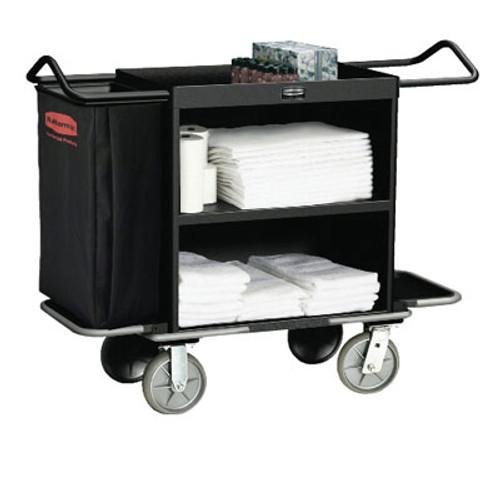 Rubbermaid Commercial High-Capacity Housekeeping Cart, Three-Shelf, 22w x 55d x 44h, Black (RCP 9T62 BLA)