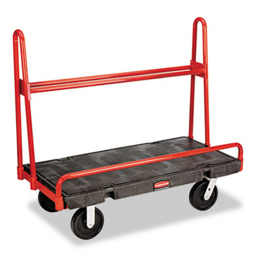 Rubbermaid Commercial A-Frame Panel Truck, 2000-lb Cap, 24 1/4w x 48d x 45h, Black/Red (RCP 4463 BLA)