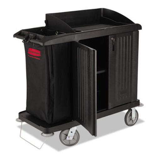Rubbermaid Commercial Multi-Shelf Cleaning Cart, Three-Shelf, 22w x 49d x 50h, Black (RCP 6192 BLA)