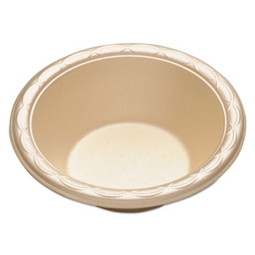 "Dispoz-o Enviroware Foam Dinnerware, Bowl, 6"", 12oz, Wheat, 250/Pack, 4 Packs/Carton (DZO GFB6)"