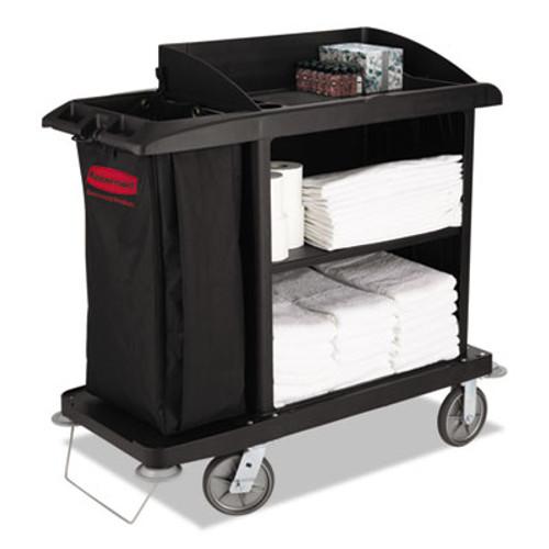 Rubbermaid Commercial Multi-Shelf Cleaning Cart, Three-Shelf, 22w x 49d x 50h, Black (RCP 6190 BLA)
