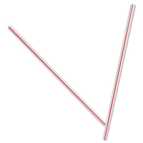 "Dixie Unwrapped Hollow Stir-Straws, 5"", Plastic, White/Red, 1000/Box, 10 Boxes/Carton (DIX HS5CC)"