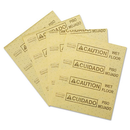 """Rubbermaid Commercial Over-the-Spill Pad, """"Caution Wet Floor"""", Yellow, 16 1/2"""" x 20"""", 25 Sheets/Pad (RCP 4252 YEL)"""