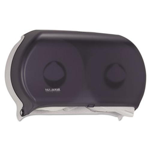 """San Jamar Twin 9"""" Jumbo Tissue Dispenser, 19 x 5 1/4 x 12, Transparent Black Pearl (SAN R4000TBK)"""