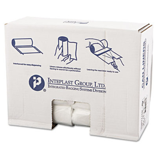 Inteplast Group High-Density Can Liner, 30 x 37, 30gal, 16mic, Clear, 25/Roll, 20 Rolls/Carton (IBS S303716N)