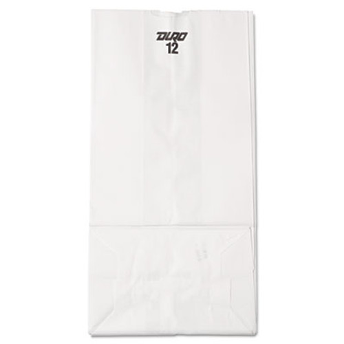 General #12 Paper Grocery Bag, 40lb White, Standard 7 1/16 x 4 1/2 x 13 3/4, 500 bags (BAG GW12-500)