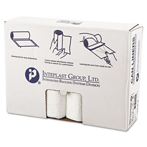 Inteplast Group Low-Density Can Liner, 24 x 32, 16gal, .5mil, White, 50/Roll, 10 Rolls/Carton (IBS SL2432XHW)