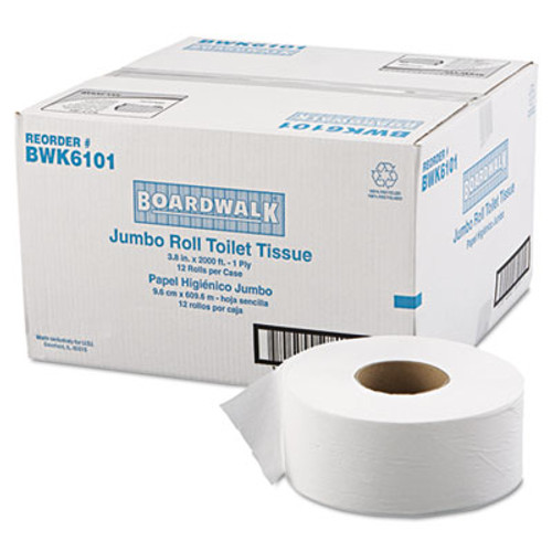 "Boardwalk JRT Jr. Bath Tissue, Jumbo, 1-Ply, 3 1/2"" x 2000ft, 9"" dia, White, 12/Carton (BWK 6101)"
