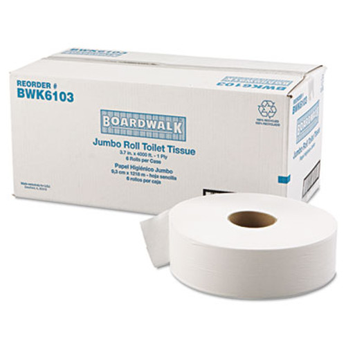 "Boardwalk JRT Bath Tissue, Jumbo, 1-Ply, 3 5/8"" x 4000ft, 12"" dia, White, 6/Carton (BWK 6103)"