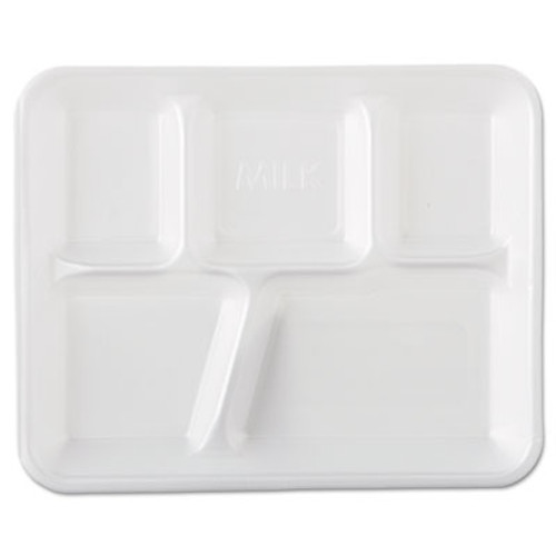 Genpak Foam School Trays, 5-Comp, 10 2/5 x 8 2/5 x 1 1/4, White, 500/Carton (GNP 10500)