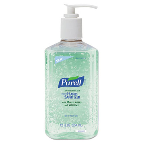 PURELL Advanced Instant Hand Sanitizer w/Aloe, 12oz Pump Bottle, 12/Carton (GOJ 3639-12)