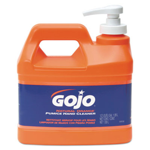 GOJO NATURAL ORANGE Pumice Hand Cleaner, Orange Citrus Scent, .5gal Pump Bottle, 4/CT (GOJ 0958-04)