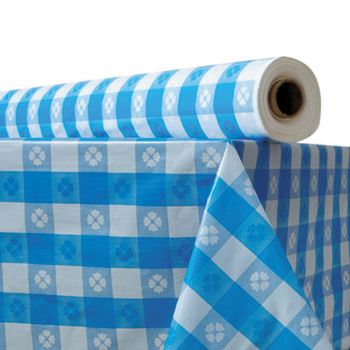 "Atlantis Plastics Plastic Table Cover, 40"" x 300 ft Roll, Blue Gingham (ATL 2TCB300GIN)"