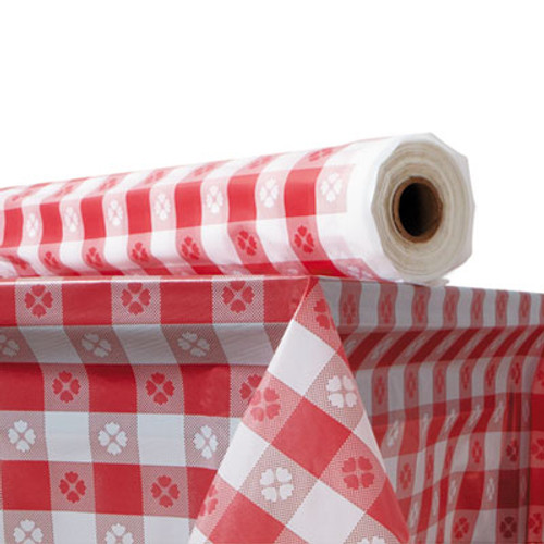 "Atlantis Plastics Plastic Table Cover, 40"" x 300 ft Roll, Red Gingham (ATL 2TCR300GIN)"