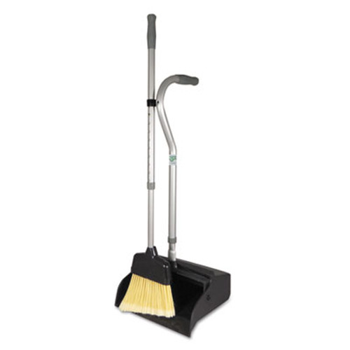 """Unger Telescopic Ergo Dust Pan with Broom, 12"""" Wide, 45"""" High, Metal, Gray/Silver (UNG EDTBG)"""