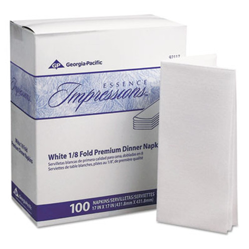 Georgia Pacific Professional Essence Impressions 1/8-Fold Dinner Napkins, Two-Ply, 17 x 17, White (GPC 921-17)