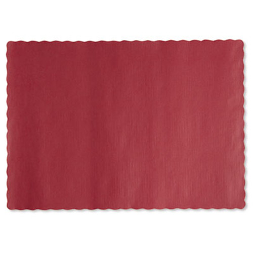 Hoffmaster Solid Color Scalloped Edge Placemats, 9 1/2 x 13 1/2, Red, 1000/Carton (HFM 310521)