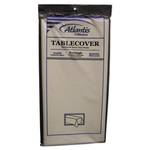Atlantis Plastics Plastic Table Cover, Rectangular, 54 x 108, White, 12/Carton (ATL 2TCW108-12)