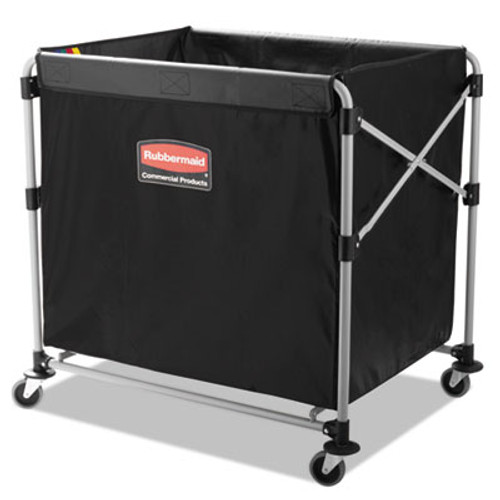 Rubbermaid Commercial Collapsible X-Cart, Steel, Eight Bushel Cart, 24 1/10w x 35 7/10d, Black/Silver (RCP 1881750)