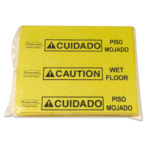 Rubbermaid Commercial Over-The-Spill Pad Tablet w/25 Pads, Yellow/Black,14 x 16 1/2 (RCP 4253 YEL)