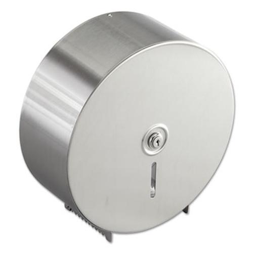 Bobrick Jumbo Toilet Tissue Dispenser, Stainless Steel, 10.625W x 10.625H x 4.5D (BOB 2890)