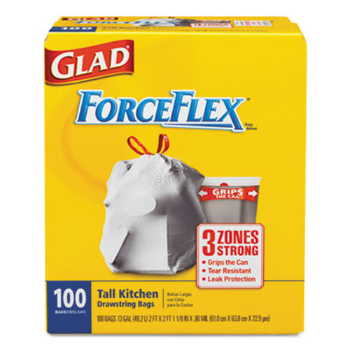 Glad ForceFlex Tall Kitchen Drawstring Bags, 13 gal, .90mil, 24x25 1/8 White 100/Bx (CLO 70427)