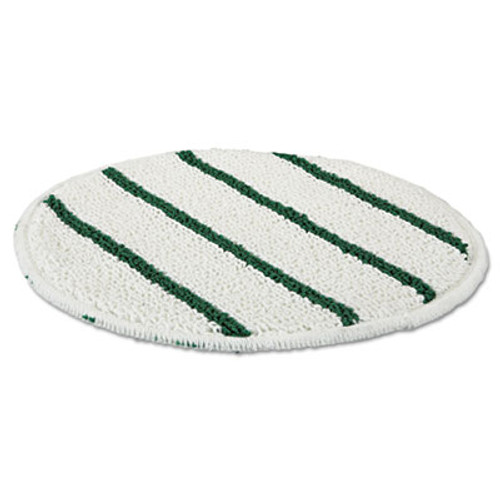 "RubbermaidA Low Profile Scrub-Strip Carpet Bonnet, 19"" Diameter, White/Green, 5/Carton (RCP P269)"
