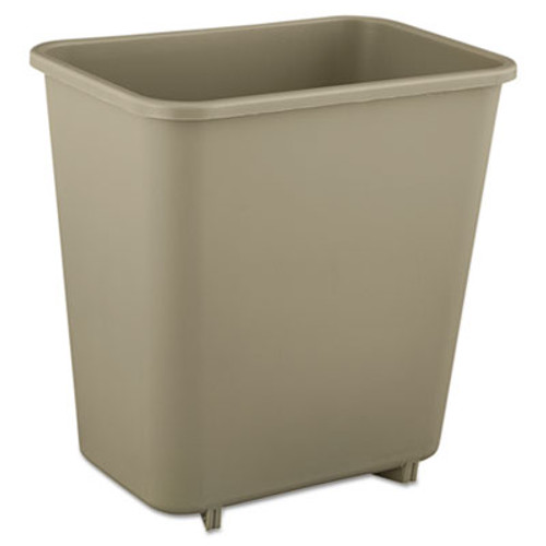 Rubbermaid Commercial Deskside Plastic Wastebasket, Rectangular, 2 gal, Beige (RCP 2952 BEI)