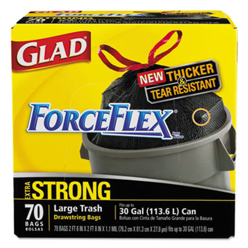 Glad Drawstring ForceFlex Large Trash Bags, 30 x 32, 30gal, 1.05mil, Black, 70/Carton (CLO 70358)