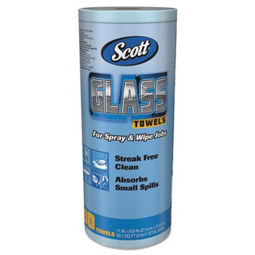 """Scott Glass Towels, 1-Ply, 8.6"""" x 11"""", Blue, 90 Sheets/Roll, 12 Rolls/Carton (KCC 32896)"""