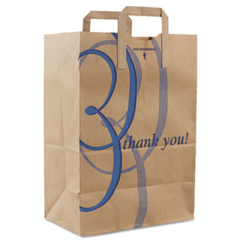 "Duro Bag Stock Thank You Handle Bags, 12""w x 7""d x 17""h, Brown Kraft, 300/Bundle (DRO 41265)"