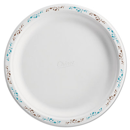 "Chinet Molded Fiber Dinnerware, Plate, 10 1/2""Dia, WH, Vines, 125/Pack, 4 Packs/Carton (HUH 22519)"