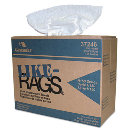 Cascades Like-Rags Spunlace Towels, White, 9 3/4 x 16 3/4, 150/Box, 6 Box/Carton (CSD 37246)