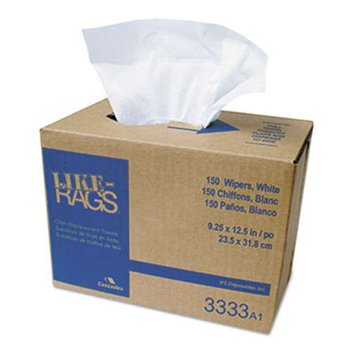 Cascades Like-Rags Spunlace Towels, White, 9 1/4 x 12 1/2, 150/Box, 9 Box/Carton (CSD 3333)