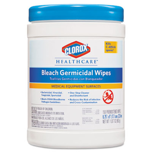 CloroxA Bleach Germicidal Wipes, 6 x 5, Unscented, 150/Canister (CLO30577)