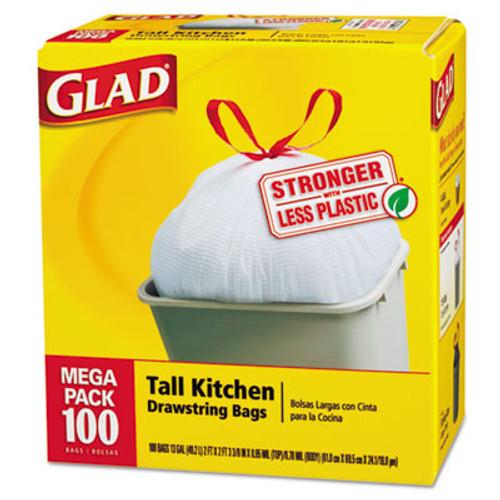 Glad Tall Kitchen Drawstring Bags, 24 x 27 3/8, 13gal, .95mil, White, 100/Box (CLO 78526CT)