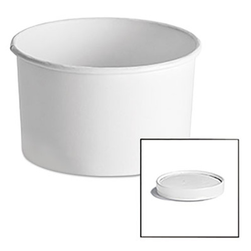 Chinet Paper Food Container with Vented Lid Combo 16 oz, Polycoated, White, 250/Carton (HUH 71845)