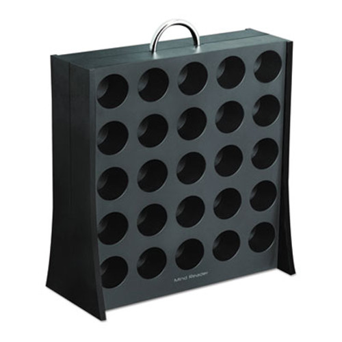 Mind Reader Wall Single-Serve Coffee Cup Rack, 50 Cup, 12 1/8w x 5 3/8d 13 7/8h,Black/Chrome (EMSRAC3PCBLK)
