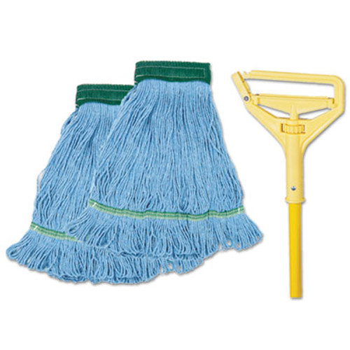 "Boardwalk Looped-End Mop Kit, Medium, 60"" Metal/Polypropylene Handle, Blue/Yellow (BWK 400MB-C)"
